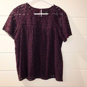 J.Crew | Purple lace flower short sleeve blouse 10